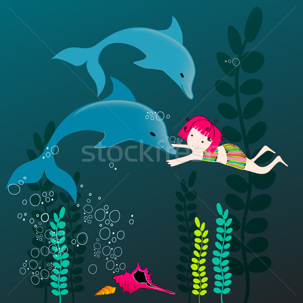 Cute dolphins and girl Stock photo © glyph