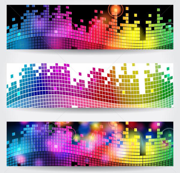 Elegáns zene háló bannerek vektor szett Stock fotó © glyph