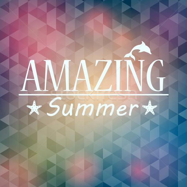 Színes elmosódott hipszter nyár szöveg vektor Stock fotó © glyph