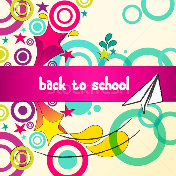 Cute terug naar school illustratie vector schets stijl Stockfoto © glyph