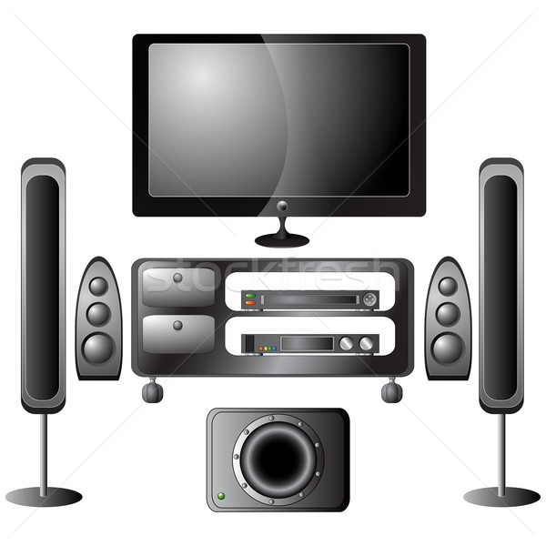 Set of detailed home theater icons Stock photo © glyph