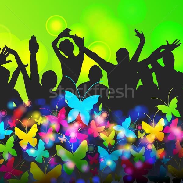 Renkli parti insanlar siluetleri vektör kalabalık Stok fotoğraf © glyph