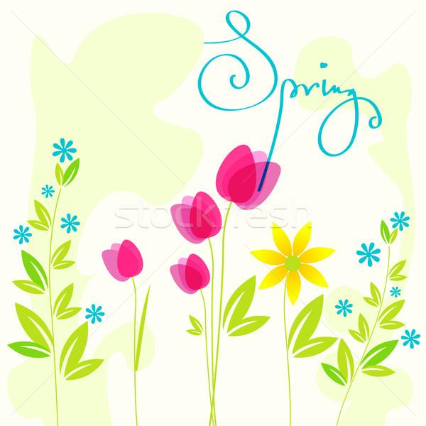 Gyönyörű tavaszi virágok vektor illusztráció húsvét természet Stock fotó © glyph