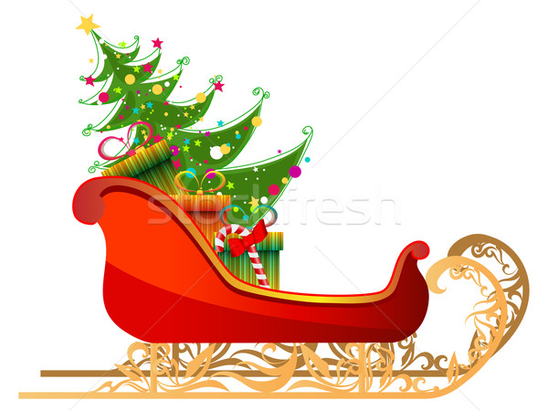 Stock photo: Beautiful, detailed illustration of Santa's sleigh with gifts an