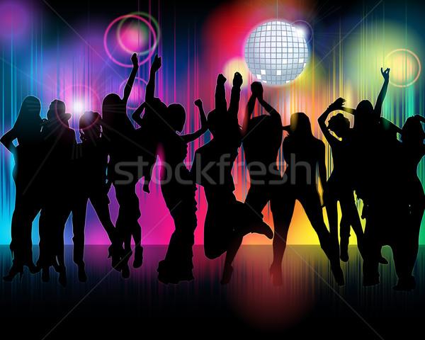 Kalabalık parti insanlar örnek renkli siluetleri Stok fotoğraf © glyph