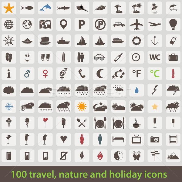 Stock photo: Large set of holiday icons