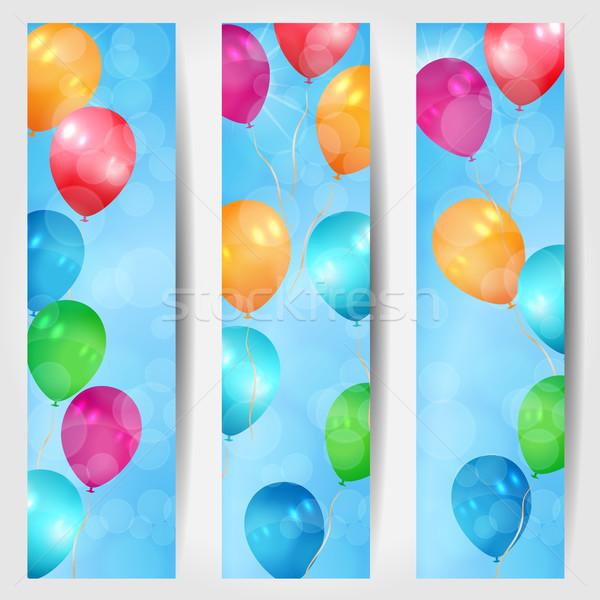 Szett három háló bannerek léggömbök repülés Stock fotó © glyph