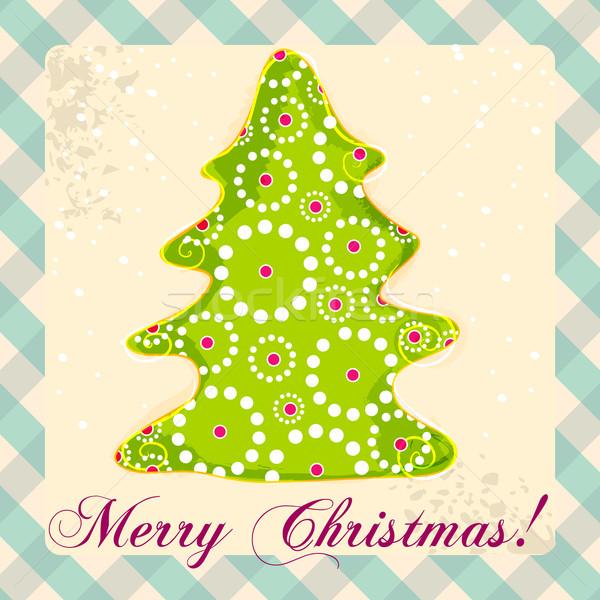Aranyos karácsonyi üdvözlet vektor kézzel rajzolt stílus karácsony Stock fotó © glyph