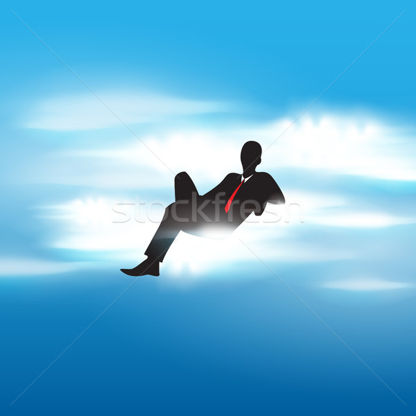 Successful businessman sitting on a cloud Stock photo © glyph