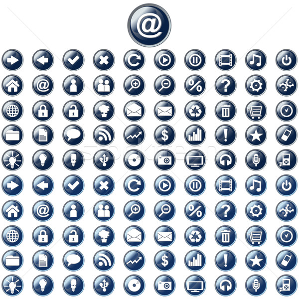 Large set of glossy blue web buttons  Stock photo © glyph