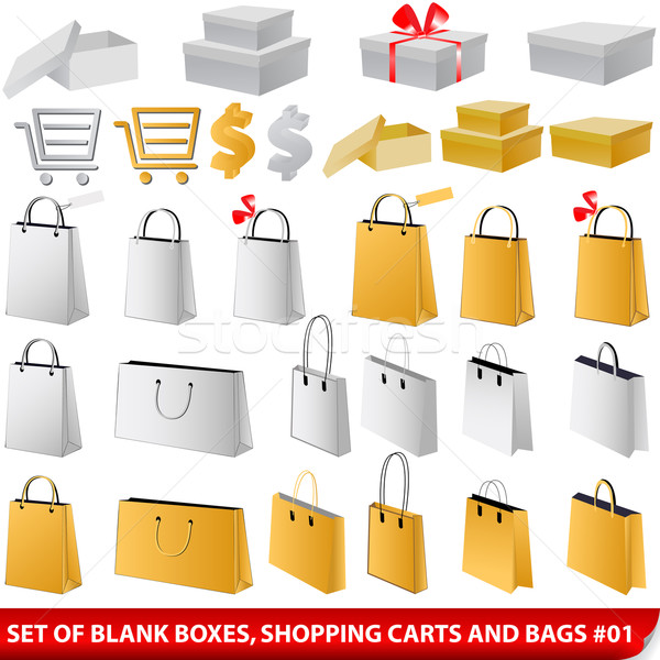 Set of blank shopping bags, carts and giftboxes Stock photo © glyph