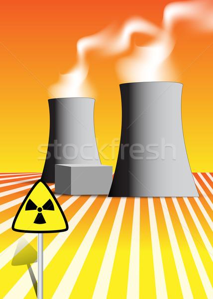 Nukleáris erőmű illusztráció füst ipar ipari Stock fotó © glyph