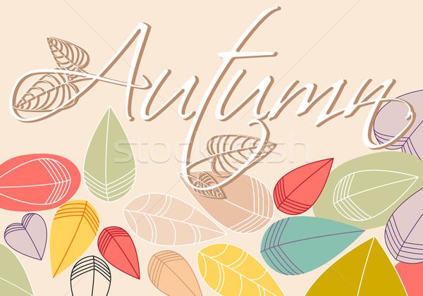 Stock fotó: Színes · őszi · levelek · illusztráció · vektor · kézzel · rajzolt · stílus