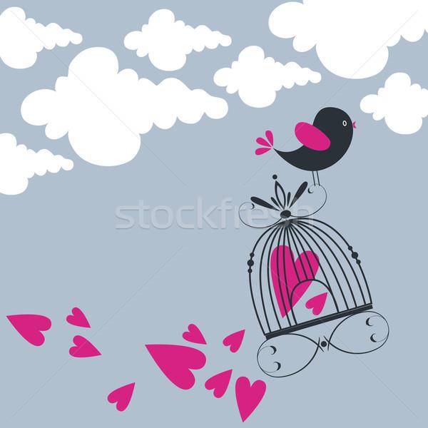 かわいい 鳥 飛行 空 手描き スタイル ストックフォト © glyph