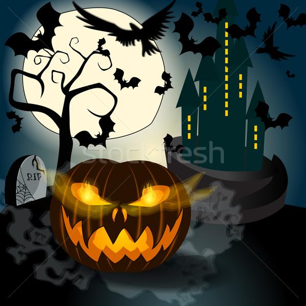 Halloween illustration with Jack O'Lantern Stock photo © glyph