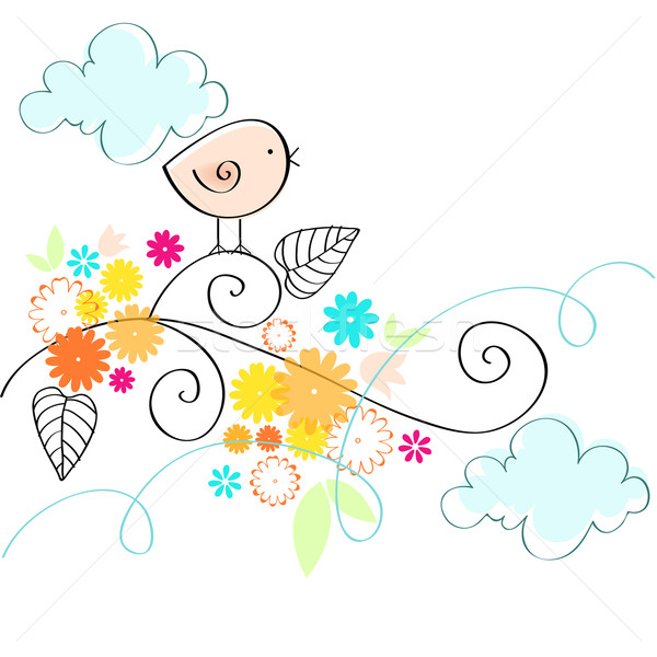 Cute voorjaar vogel illustratie vector Pasen Stockfoto © glyph