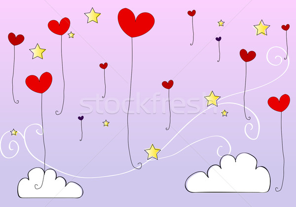 Cute heartshaped balloons flying in the sky Stock photo © glyph