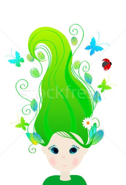 Bonitinho primavera menina borboletas joaninha vetor Foto stock © glyph