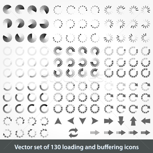 Set of 130 loading and buffering icons Stock photo © glyph