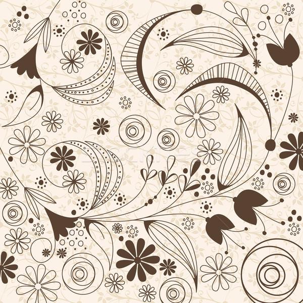 Klasszikus virágmintás vektor gyönyörű absztrakt retro Stock fotó © glyph