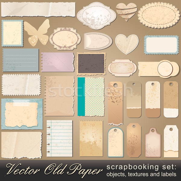 Scrapbooking set of old paper objects Stock photo © glyph