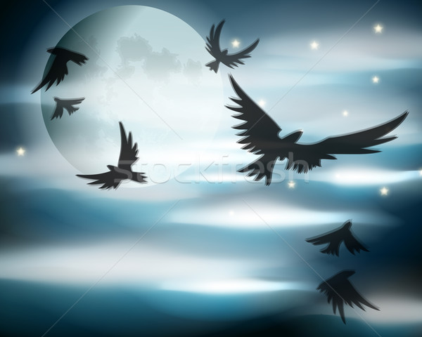 Halloween illustration dramatique pleine lune vecteur nuages Photo stock © glyph