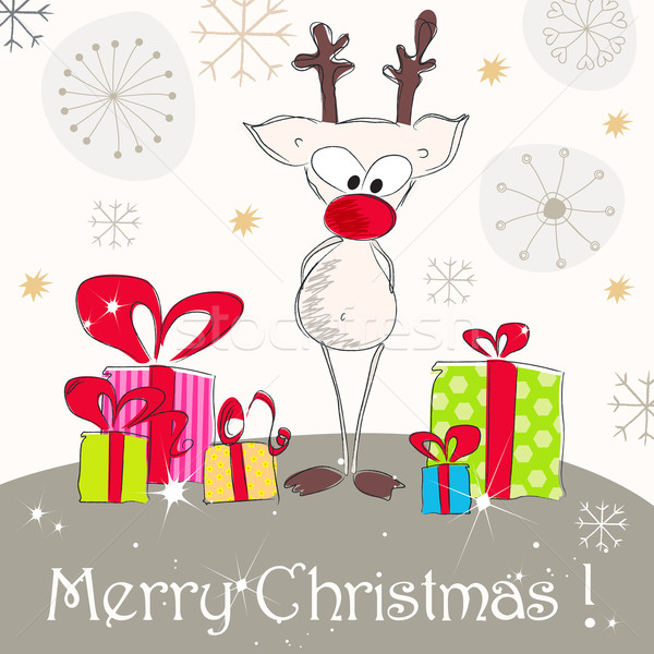 Cute Christmas greeting card with reindeer Stock photo © glyph
