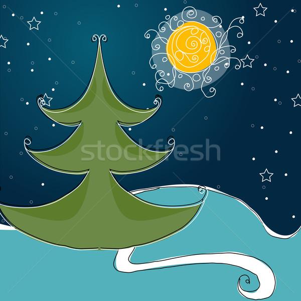 かわいい 冬 夜景 ベクトル 手描き スタイル ストックフォト © glyph