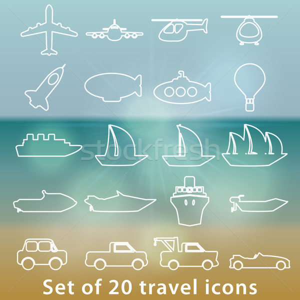 Large set of transportation icons Stock photo © glyph