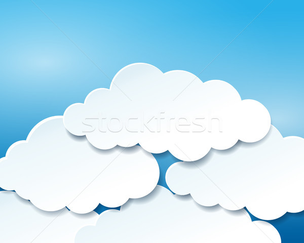 Beautiful blue sky with paper clouds Stock photo © glyph