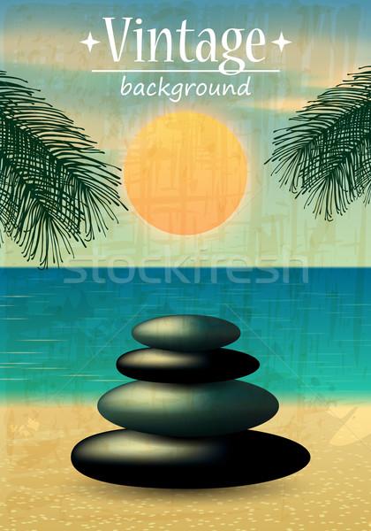 Retro beach illustration Stock photo © glyph