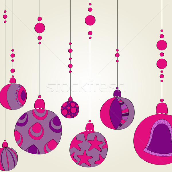 Beautiful Christmas background with purple globes Stock photo © glyph