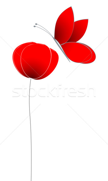 Cute poppy with butterfly Stock photo © glyph