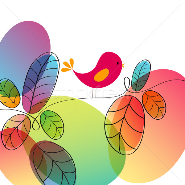 Cute autumn bird illustration Stock photo © glyph