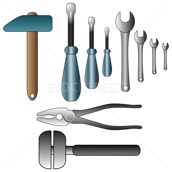 Set of detailed tools illustration Stock photo © glyph