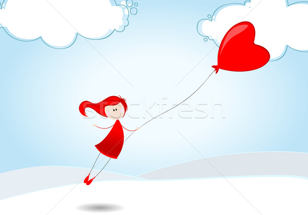 Cute girl flying away on a heartshaped balloon Stock photo © glyph
