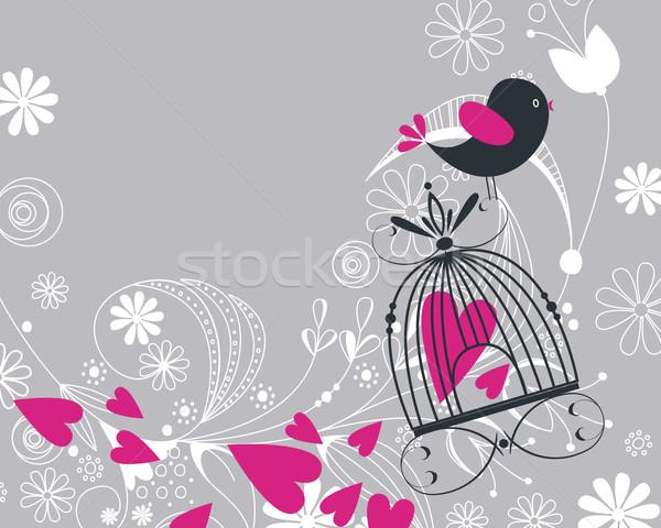 Cute bird flying Stock photo © glyph