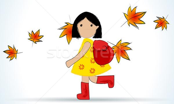 Aranyos lány vissza az iskolába vektor illusztráció iskola Stock fotó © glyph