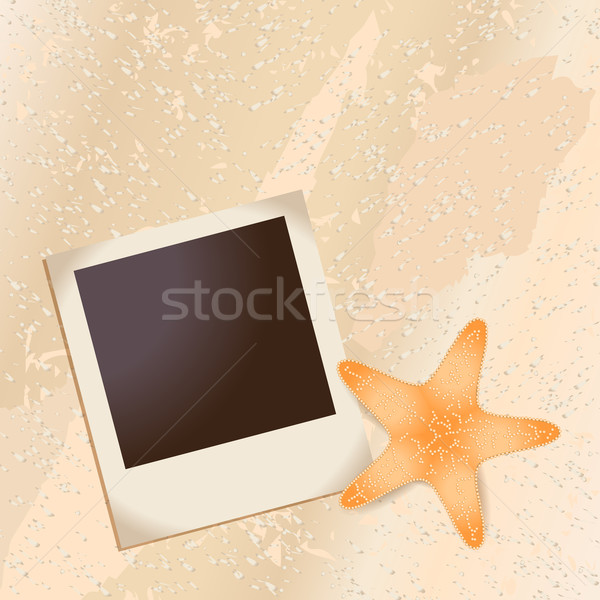 Old photo and starfish in the sand Stock photo © glyph