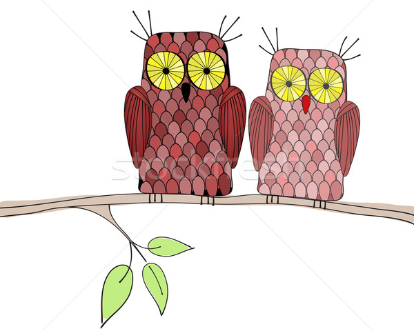 Cute owls illustration Stock photo © glyph