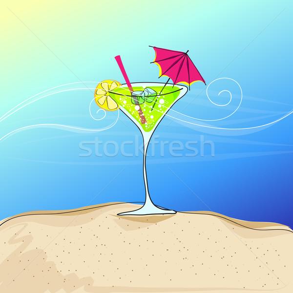Cute cocktail glass on summer seashore Stock photo © glyph