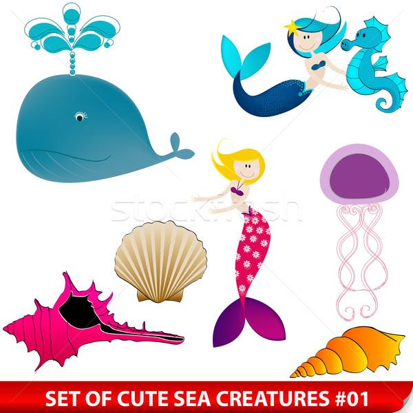 Vektor szett aranyos tenger teremtmények illusztrációk Stock fotó © glyph