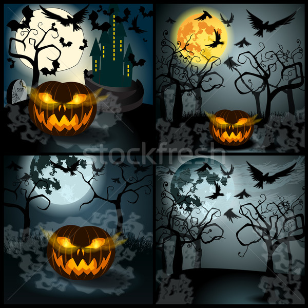 Set of Halloween illustration with Jack O'Lantern Stock photo © glyph