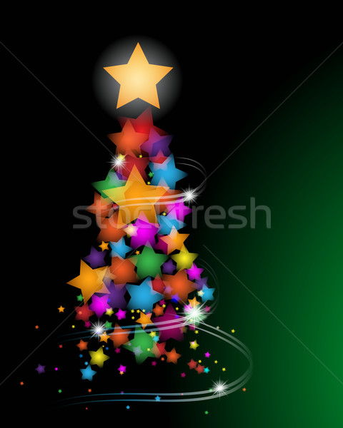 Bella albero di natale biglietto d'auguri stelle albero luce Foto d'archivio © glyph