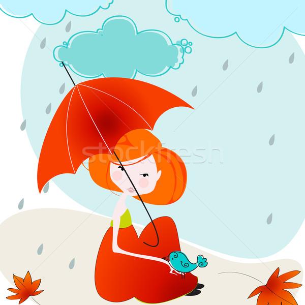 Stock foto: Cute · Herbst · Mädchen · Vogel · Illustration · Vektor
