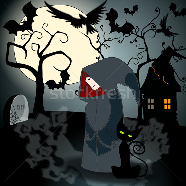 Cute Halloween witch with black cat Stock photo © glyph