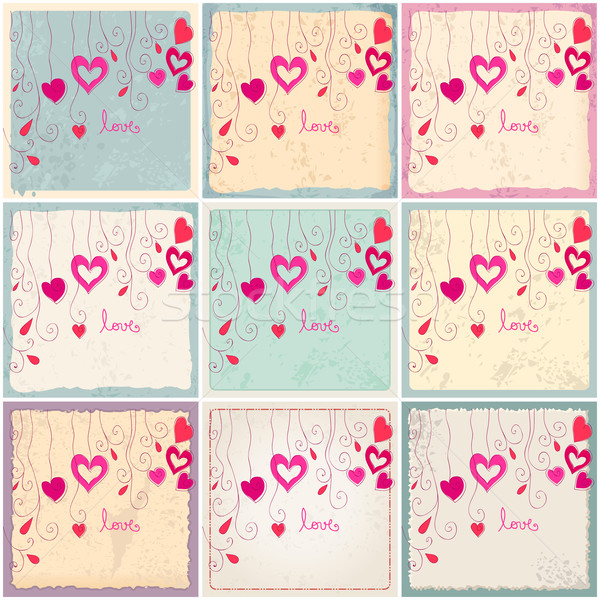 Cute romantischen Hintergrund Vektor Set Hand gezeichnet Stock foto © glyph