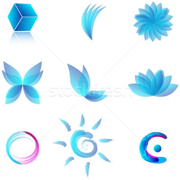 Szett kék víz absztrakt szimbólumok vektor Stock fotó © glyph