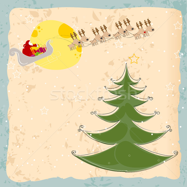 Cute Christmas greeting card with Santa's sleigh flying in front Stock photo © glyph