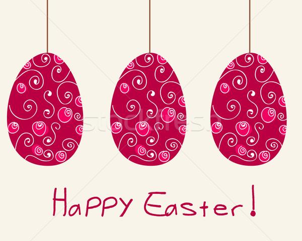 Foto stock: Cute · huevos · de · Pascua · ilustración · vector · dibujado · a · mano · estilo